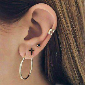 NWOT Gold Hoop Cross Set of 4 Earrings